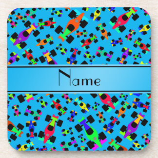Personalized name sky blue race car pattern beverage coaster