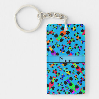 Personalized name sky blue race car pattern Double-Sided rectangular acrylic keychain