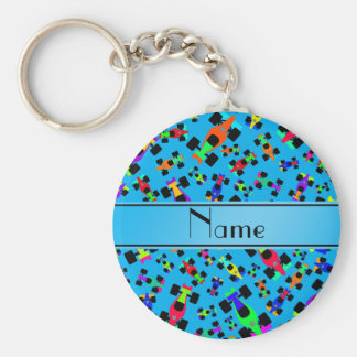 Personalized name sky blue race car pattern basic round button keychain
