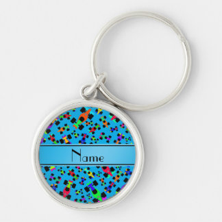 Personalized name sky blue race car pattern Silver-Colored round keychain