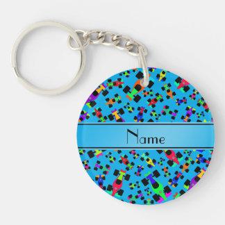 Personalized name sky blue race car pattern Single-Sided round acrylic keychain