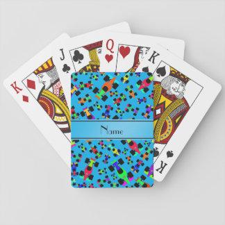 Personalized name sky blue race car pattern poker deck