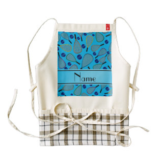 Personalized name sky blue racquetball pattern zazzle HEART apron