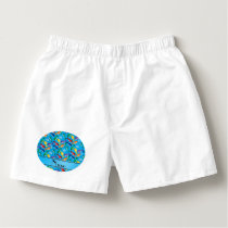 Personalized name sky blue rainbow blue whales boxers