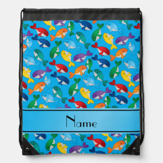 Personalized name sky blue rainbow blue whales drawstring backpack