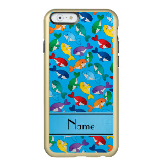 Personalized name sky blue rainbow blue whales incipio feather shine iPhone 6 case