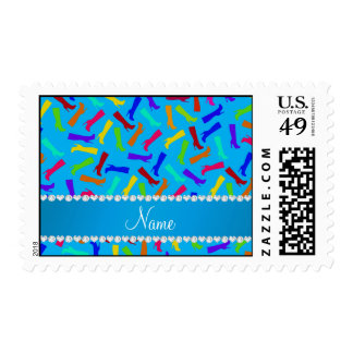 Personalized name sky blue rainbow boots postage
