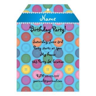 Personalized name sky blue rainbow buttons pattern 5x7 paper invitation card