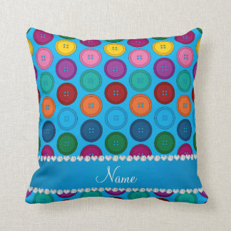 Personalized name sky blue rainbow buttons pattern pillows