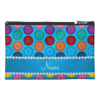 Personalized name sky blue rainbow buttons pattern travel accessory bags