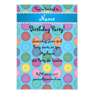 Personalized name sky blue rainbow buttons pattern magnetic invitations