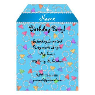 Personalized name sky blue rainbow diamond ring 5x7 paper invitation card