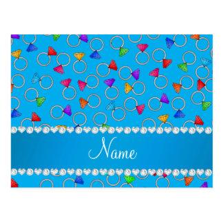 Personalized name sky blue rainbow diamond ring postcard