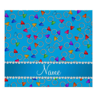 Personalized name sky blue rainbow diamond ring poster