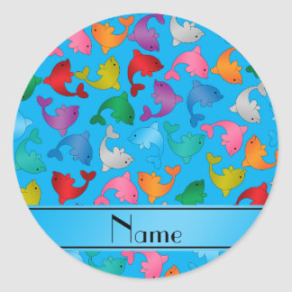 Personalized name sky blue rainbow dolphins classic round sticker