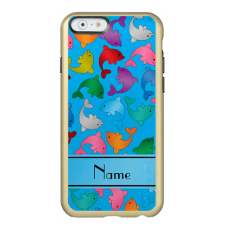 Personalized name sky blue rainbow dolphins incipio feather shine iPhone 6 case