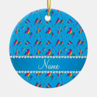 Personalized name sky blue rainbow horses stars ceramic ornament