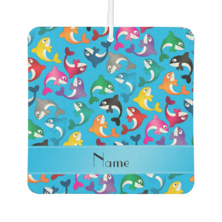 Personalized name sky blue rainbow killer whales car air freshener