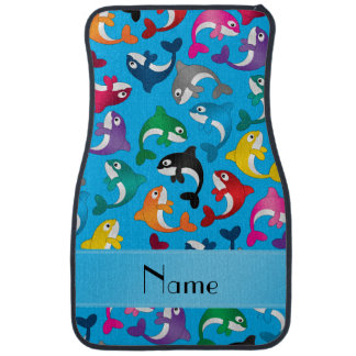 Personalized name sky blue rainbow killer whales car floor mat