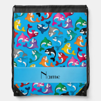 Personalized name sky blue rainbow killer whales drawstring bag
