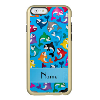 Personalized name sky blue rainbow killer whales incipio feather shine iPhone 6 case