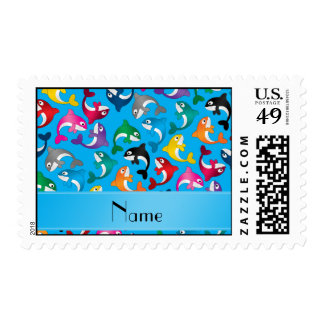Personalized name sky blue rainbow killer whales postage