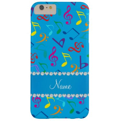 Personalized name sky blue rainbow music notes barely there iPhone 6 plus case