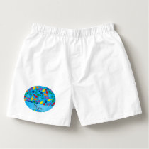 Personalized name sky blue rainbow narwhals boxers