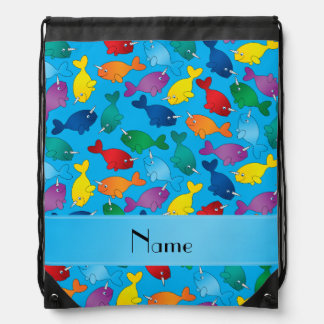 Personalized name sky blue rainbow narwhals drawstring backpack