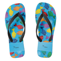 Personalized name sky blue rainbow narwhals flip flops