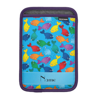 Personalized name sky blue rainbow narwhals sleeve for iPad mini