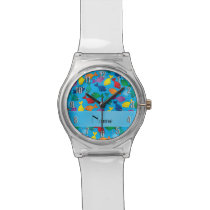 Personalized name sky blue rainbow narwhals wrist watch