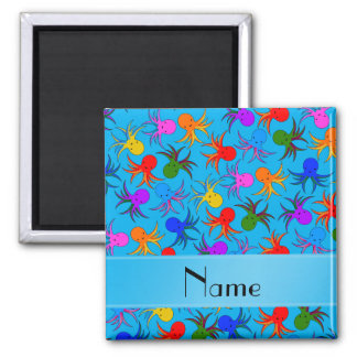 Personalized name sky blue rainbow octopus 2 inch square magnet