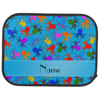 Personalized name sky blue rainbow octopus car mat