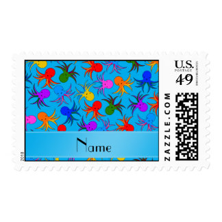 Personalized name sky blue rainbow octopus postage