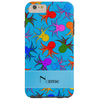Personalized name sky blue rainbow octopus tough iPhone 6 plus case