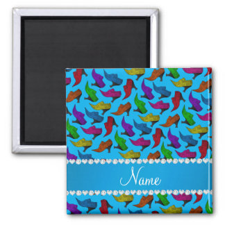 Personalized name sky blue rainbow vintage shoes 2 inch square magnet