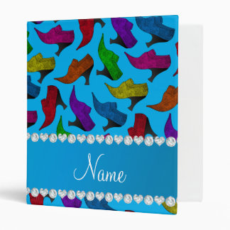 Personalized name sky blue rainbow vintage shoes 3 ring binder