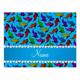 Personalized name sky blue rainbow vintage shoes postcard