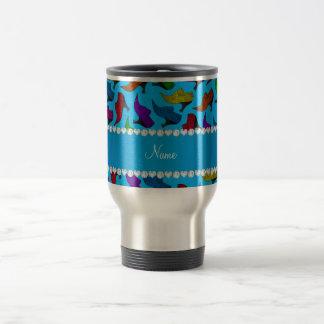 Personalized name sky blue rainbow vintage shoes travel mug