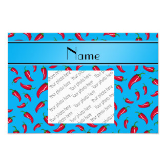 Personalized name sky blue red chili pepper photo