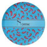 Personalized name sky blue red chili pepper party plates
