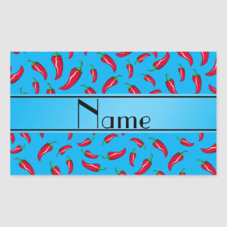Personalized name sky blue red chili pepper sticker