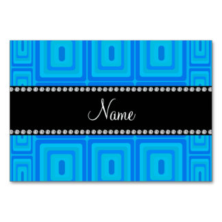 Personalized name sky blue retro colorful squares table card
