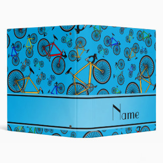 Personalized name sky blue road bikes 3 ring binder