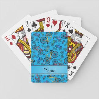 Personalized name sky blue road bikes card decks