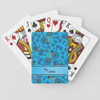 Personalized name sky blue road bikes deck of cards