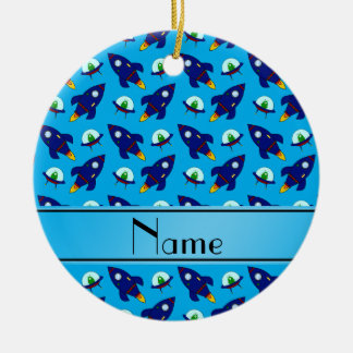 Personalized name sky blue rocket alien ships ceramic ornament
