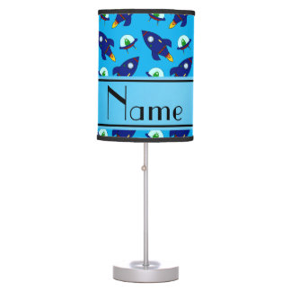 Personalized name sky blue rocket alien ships desk lamp