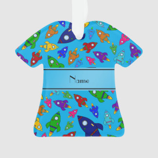 Personalized name sky blue rocket ships